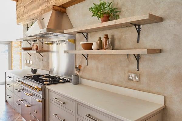 A sustainable kitchen design featuring quartz worktops