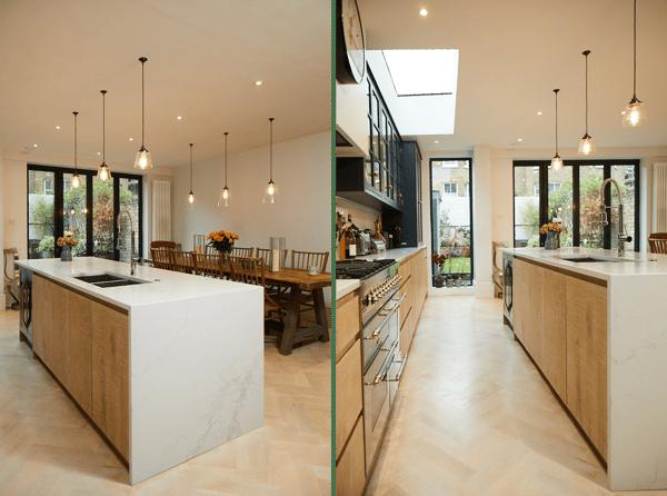 A sustainable kitchen design featuring Statuario Maximus quartz worktops