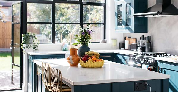 Painted cabinets in Lily Pebble's kitchen